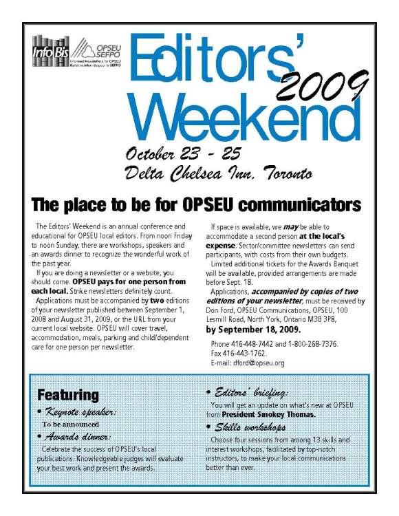 Editors Weekend 09